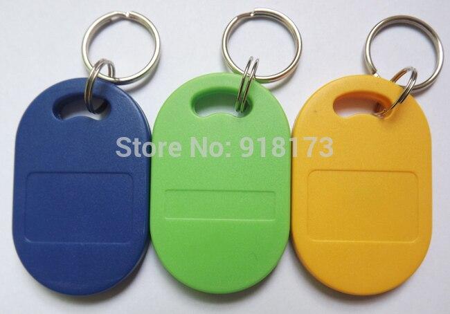 100pcs RFID key fobs 13.56MHz proximity ABS key ic tags Token Ring nfc 1k china Fudan  S50 1K chip blue yellow green<br>