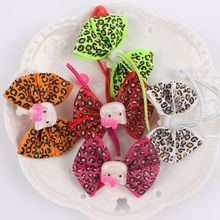1pcs High Quality 12 color Bow tie Kids Elastic Hair bands Leopard pattern Animal Cat head Model girls rubber bands 2017