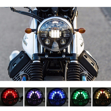 High Quality!5.75 inch Led Headlight  Multicolor controlable Motorcycles for Harley Motorcycles Black&Chormel headlamp hot sale.