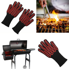 1 x Heat Resistant thick Silicon Kitchen Barbecue Oven BBQ Grill Glove Long Extreme Heat For Extra Forearm Protection(China)