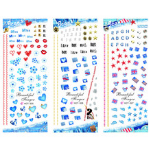 3 PACKS / LOT FLOWER NUMBER SWEET HEART NAIL CROSS TATTOOS STICKER WATER DECAL NAIL ART HOT325-327(China)