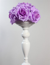 15cm purple Elegant Artificial Silk Crimping Rose Flower Ball Hanging Kissing Ball For Wedding Room Party Decoration Supplies