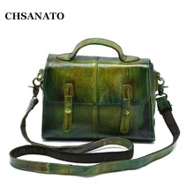 CHSANATO Unique Women Genuine Leather Messenger Bags Vintage Girls Satchel Bag Small Crossbody Hand Bag For Lady Briefcase(China)