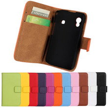 For Samsung Galaxy Ace S5830 Genuine Leather Mobilephone Case Book Wallet Style Flip Stand Cover With Card Slot Holder Shell(China)