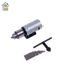 Mini DC 12V Hand Electric Drill Motor Wood PCB Press Drilling Set with 10PC 0.5-3mm Twist Bits and JTO Chucks Bracket Stand