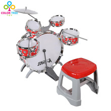 Jazz Drum Set with Chair Musical Toy Instrument for Kids