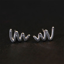 Unique Design Smooth Curve Ear Studs Earrings brincos for Women 925 Sterling Silver Wedding Earring brinco Jewelry EAR-0150