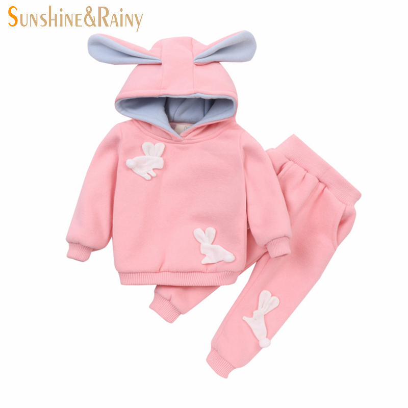 Sunshine &amp; Rainy Cute Bunny Baby Girls Clothing Set Winter Toddler Kids Sport Set Rabbit Ear Hooded Warm Tracksuit For Girls<br>