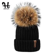 Furtalk Knitted Real Fur Hat 100% Real Raccoon Fur Pom Pom Hat Winter Women Hat beanie for women(China)