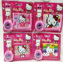 New 6 pcs Popular Cartoon Hello Kitty Projection Watch  And Wallets Sets For Best Gift  AT-211