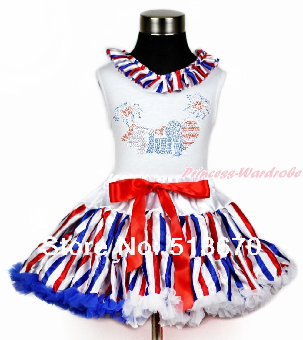 4th July Rhinestone USA Flag Heart White Top Red White Blue Stripe Skirt 1-8Y MAAS04<br>