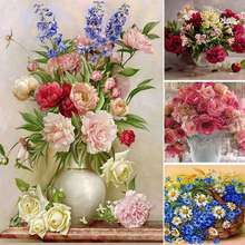 DIY Diamond Embroidery Flowers Pattern Full Drill Rhinestones Frameless 5D Diamond Painting Diamond For Home Decor