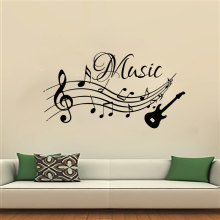 DCTOP Musical Notes Music Wall Stickers PVC Removable Living Room Home Decor Guitar Wall Decals