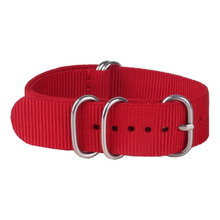 Buy 2 get 20% off) 20mm Solid Red Army Sports Zulu fabric Nylon watchband Watch Strap 5 Rings Bands Buckle belt 20 mm