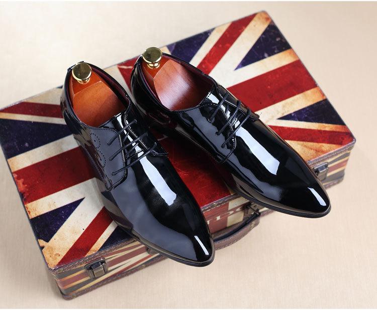 NPEZKGC Big Size 38-48 Men Shoes PU Leather Casual Shoes Fashion Lace Up Oxfrds Shoes Breathable Patent Leather Men Flat Shoes 23