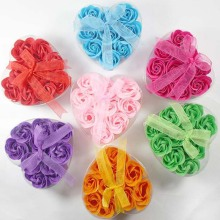 9 Pcs Bath Body Flower Heart Favor Soap Rose Petal Wedding Decoration Party Gift H4109