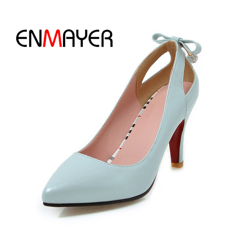 ENMAYER New Arrival 2018 Fashion Woman Pumps Suede Slip on Pointed Toe Shoes Spring High Quality Female Heel Shoes Blue White<br>