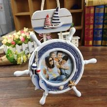 helmsman mediterranean style wooden photo frame photo frame ornaments creative decor home furnishings decor furnishings A2(China)