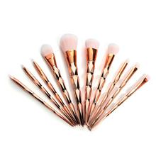 10PCs Pro Makeup Brush Set Rainbow Diamond Handle Foundation Powder BB Cream Blush Kabuki Brush Kits Professional Cosmetic Tools(China)