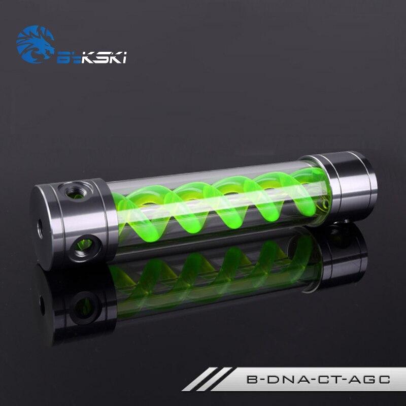 BYKSKI Length 180mm/260mm X 50mm Aluminum Acrylic Double Helix T-Virus Reservoir Water-Cooled Coolant AL Tank Light Green DNA<br>