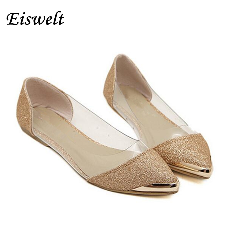 Free shipping  New Chic Metal Pointed Closed Toe Transparent Shiny Pointed Ballet Flat Shoes Womens Shoes#SJL167<br><br>Aliexpress