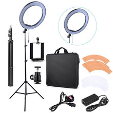 "240 LED 18"" Stepless Adjustable LED Ring Light Camera Photo Video 240pcs LED 5500K Dimmable + 2 Color Filter + 2M light stand"
