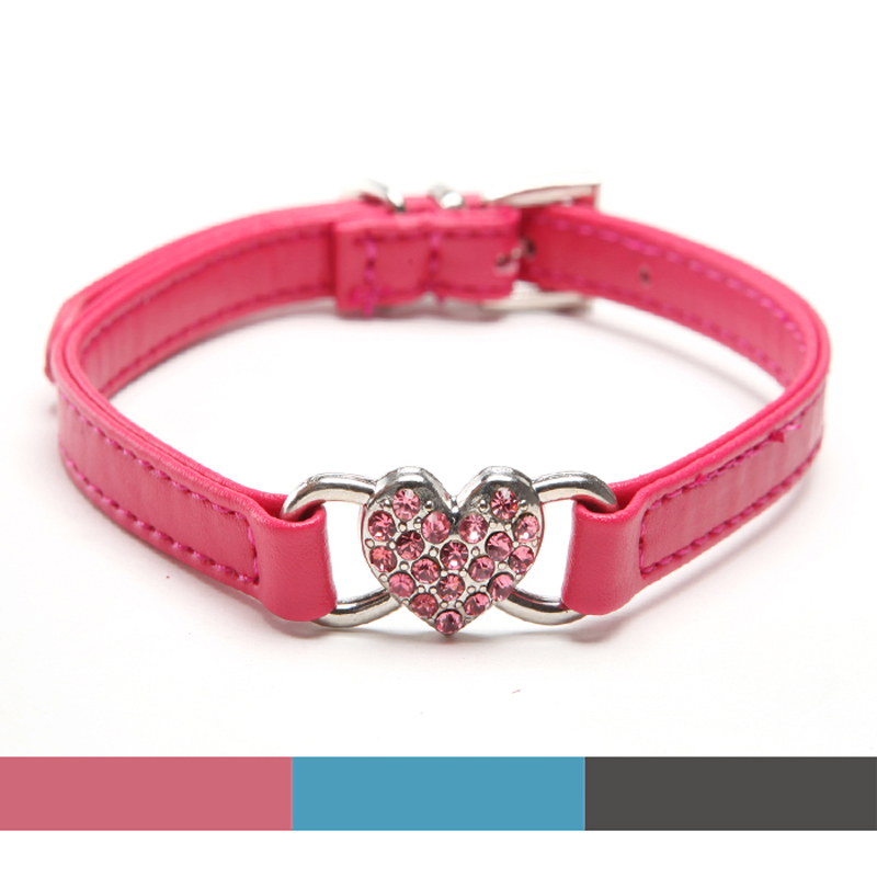 Heart charm Pu Leather Rhinestones cat Dog collar with Heart Charm Adjustable necklace pink Black Blue /XS S M Free shipping(China (Mainland))