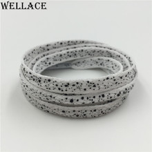 Hot sales Weiou Fashion Speckled Plain flat laces polyester Printed Splatter polka dot Shoelaces 140cm/55'' boot laces