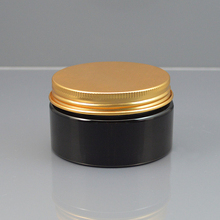 30pcs PET Jar,100g round plastic container with Golden / bronze / Black aluminum screw cap  Personal Care black Container Jar
