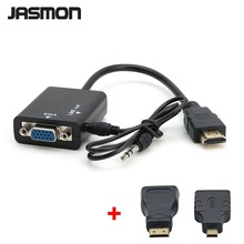 HDMI Male to VGA With Audio port MINI HDMI Micro HDMI Connector HD Video Cable Converter Adapter raised VGA port 1080P for PC(China)