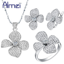 Almei 50% Offf Silver Crystal Flower Necklace/Earrings/Ring Jewelry Sets for Woman Costume Bijoux Femme Wedding Bridal T001(China)
