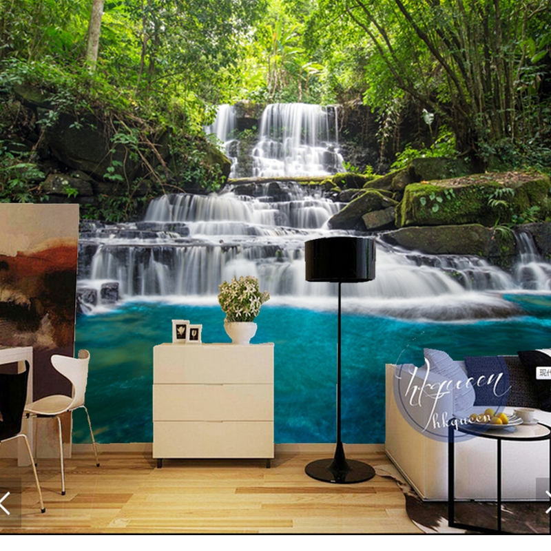 Custom natural landscape wallpaper,Forests and waterfalls,3D photo mural for living room bedroom background wall PVC wallpaper<br>