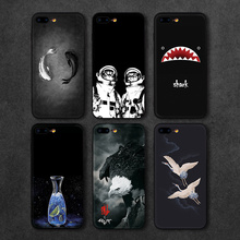 2017 Newest Phone Cases For iPhone 7 7 Plus Case Black White Fish Shark Eagle Cat Man Hard PC Back Cover For iPhone 7 6 6S Plus(China)