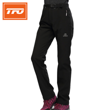 TFO Men Women Hiking Pants Winter Thermal Fleece Pants Waterproof Trousers Warm Black Camping Sportswear 772612/774612(China)