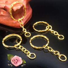 50Pcs/lot 1.3x25mm Gold Color Plated Key Ring with 4link chain 55mm Long, New Metal keychains,Key Chain and Key Ring Accessory