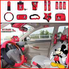 14Pcs Mickey Mouse Car Cartoon Car Steering Wheel Case Seat Covers Accessories for Audi VW Volkswagen Lada Priora Mazda Ford KIA