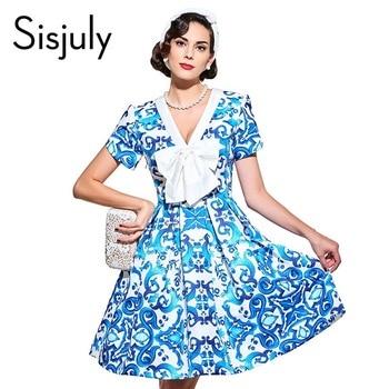 Sisjuly robes vintage 1950 s style bleu impression floral printemps été femmes party dress 2017 a-ligne élégante femelle vintage robes