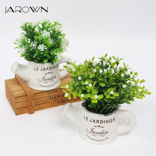 artificial plastic flowers with Ceramics vase cute artificial flower set home decoration for wedding flowers decoration(China)