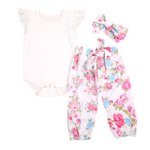 Buy 3PCS Set Floral Newborn Baby Girls Clothes Top Lace Romper Pants Headband Outfit Clothes for $5.49 in AliExpress store