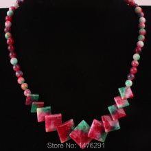 "Charm Green Red Jades Square Beads Necklace Strand 18""L"