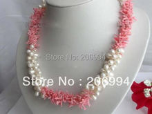 wholesales design White Freshwater Pearl & Pink Coral Necklace  fashion jewelry