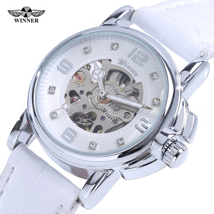 Winner 2017 Ladies Diamond Display Women Top Brand Luxury White Simple Skeleton Transparent Case Automatic Mechanical Watches<br>
