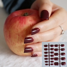 Fashion Middle Flat Top False Nail Tips for Finger Nails Candy Maroon Red Acrylic Nail DIY Decoration Full Wrap Tips P83(China)