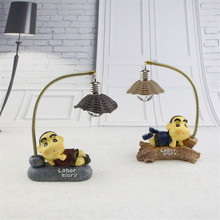 New Design Crayon Shin-chan Night Lamp Craft Mini Miniature Garden Decor Ornament Resin Iron Figurines Creative Night Lamp(China)