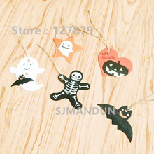95pcs 5 designs Halloween Packaging Decoration Hanging Hang Tag Window Decoration Pumpkin Party layout(China)