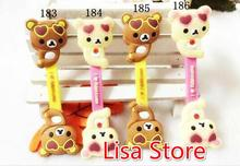 Free Ship 100pcs 3D Rilakkuma Bear School Office Cable Tie Earphone Data Audio Cable Fastener Organizer Smart Muted Line Fixe(China)