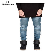 New Arrival 4 color High Quality Pleated Hollow Washed Skinny Men Joggers Hip Hop Motorcycle black Biker Jeans Denim Pants(China)
