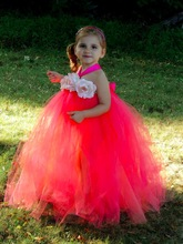 Little Girls Orange Tutu Long Dress Kids Crochet Tulle Dress Ball Gown with Rose Flower Headband Children Evening Party Dresses