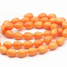 7x9mm Ornaments Orange Drop Imitation Pearl Glass Beads Diy Loose Beads For Women Girls Gifts Jewelry Making Wholesale(China)