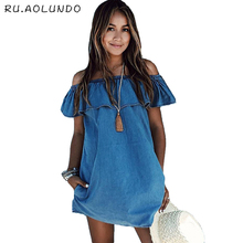 2017 Summer New Fashion Designer Women Casual Off the Shoulder Denim Dress Ladies Sexy Elegant Party Mini Dresses